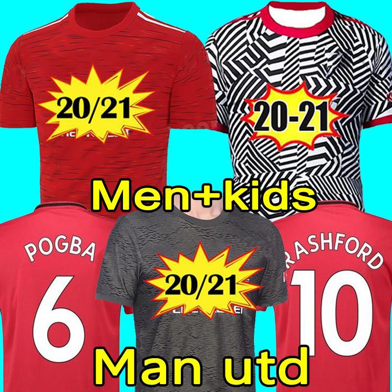 مانشستر 2020 2021 متحدين UTD RASHFORD BRUNO FERNANDES لكرة القدم جيرسي MARTIAL JAMES بالقميص لكرة القدم قميص 20 21 رجل + الاطفال طقم معدات