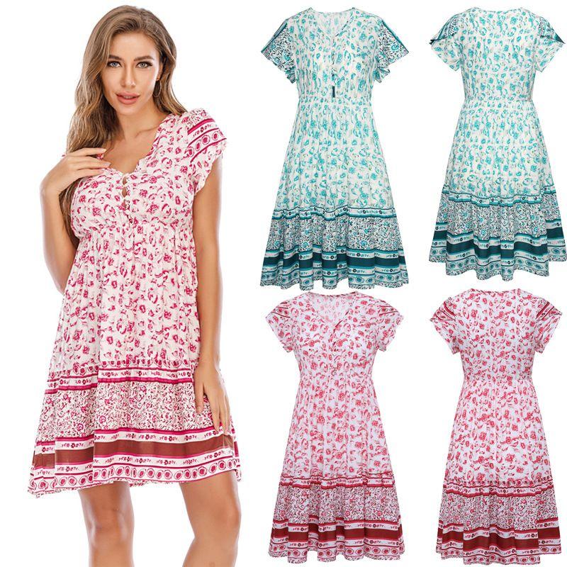 Элегантный летнее платье, недавно разработанный дизайнером женской, европейский и американский стиль пляжной юбки, богемная юбка