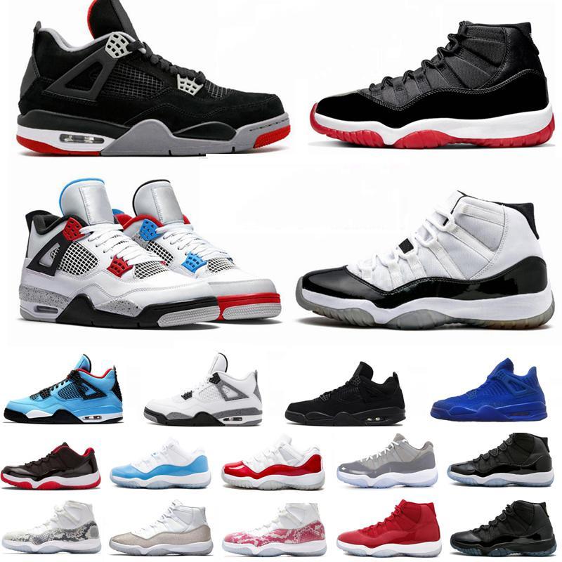 Criado 11 11s Concord 45 Space Jam Cemento Blanco 4 4s Lo que el Cactus Jack Zapatos fresco gris para hombre de las zapatillas de deporte del deporte del baloncesto