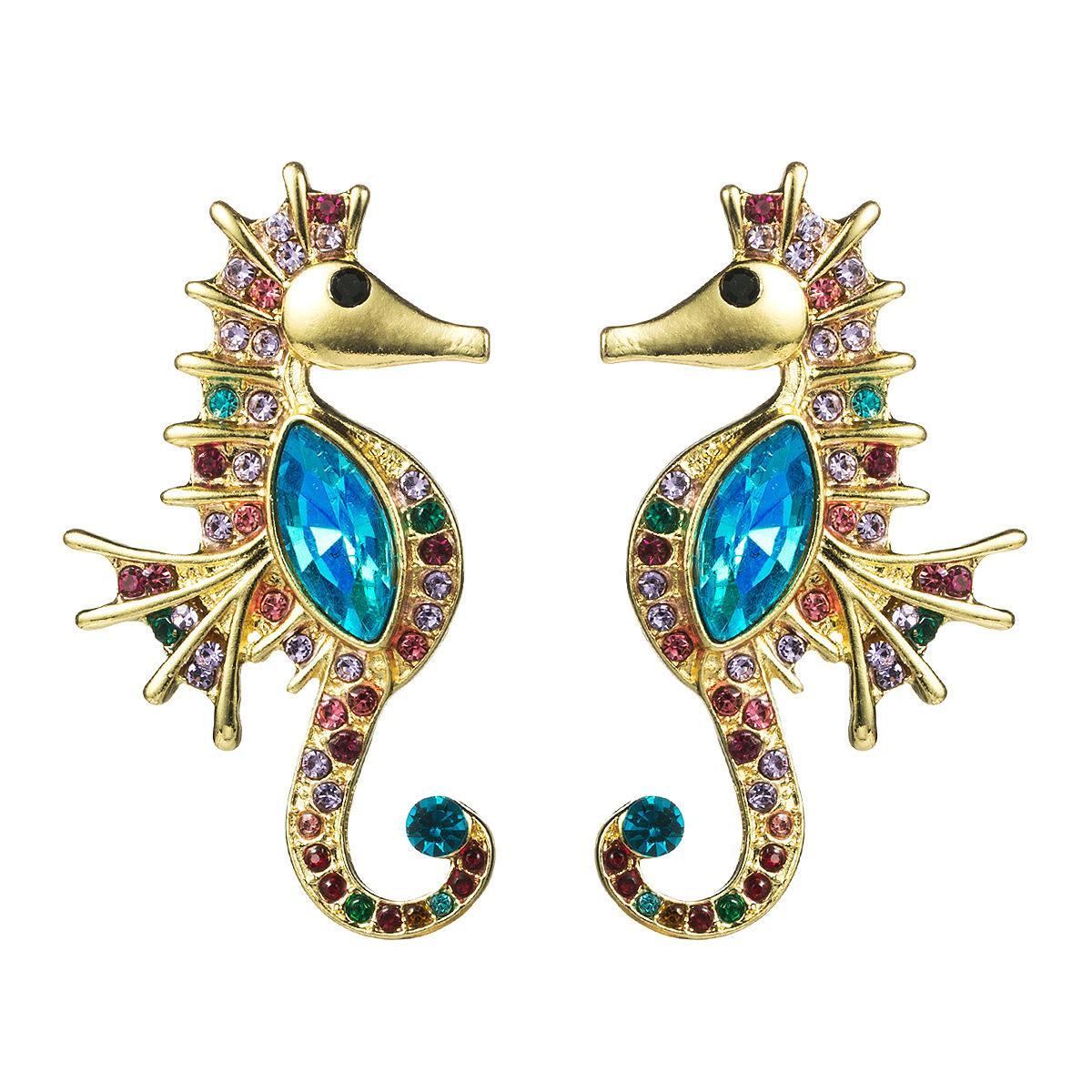 Mode créative exagérée Seahorse Diamond Glass diamant strass plein oreilles diamant boucle d'oreille de mode féminine