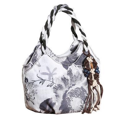 ! nacionales moda Apliques de cuerda compras de las mujeres bolsos Nie estampados florales dama pequeña Embragues del día caliente Todo-fósforo de la lona del portador