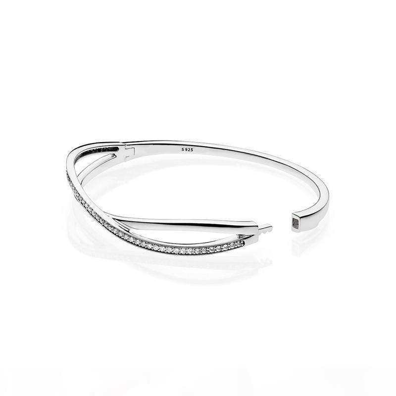 Il nuovo arrivo 925 argento intrecciate BRACCIALI scatola originale per Designer di gioielli CZ regalo di nozze del diamante delle donne Bracciale Set
