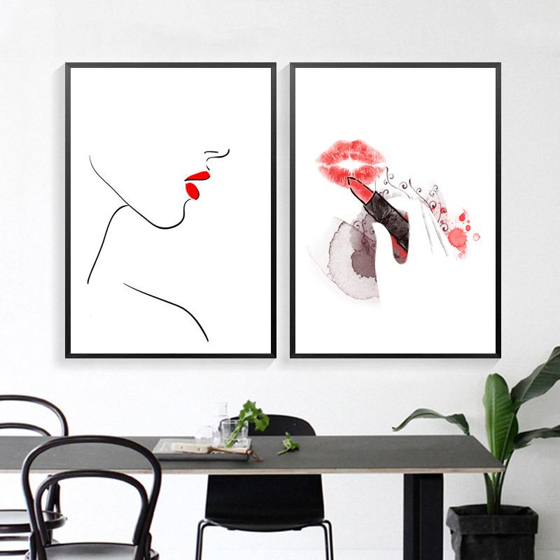 Canvas Painting Fashion Makeup Picture Wall Art Red Lips Line Print Poster Nordic Painting Letter Quote Home Decor For Bedroom