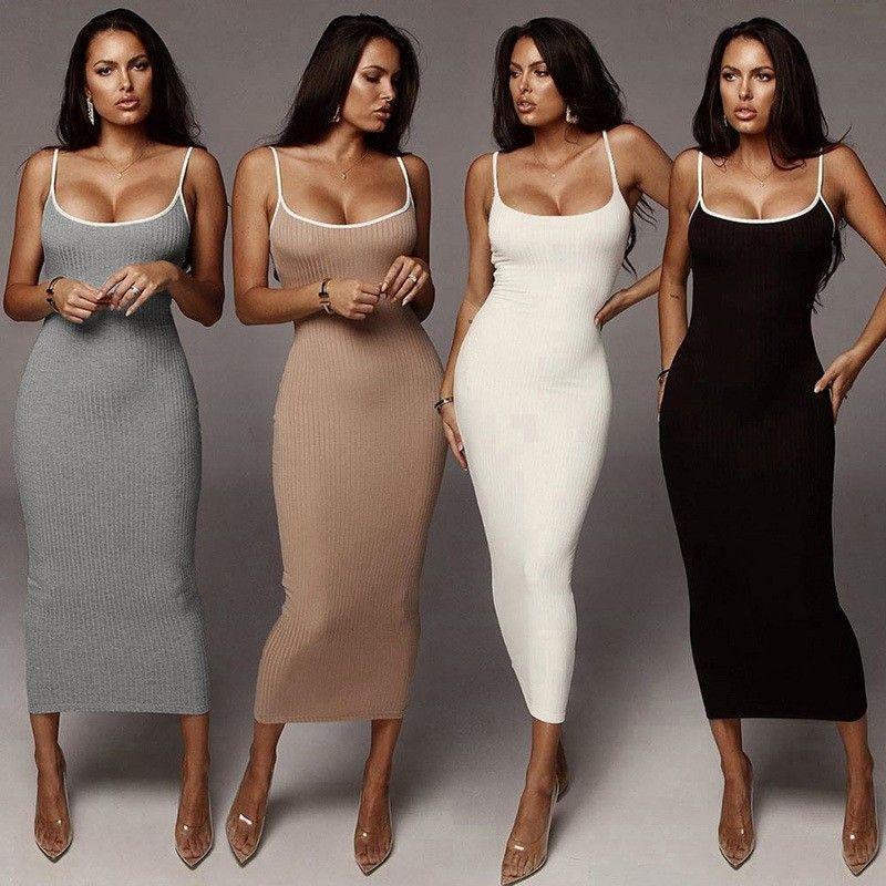 캐주얼 드레스 섹시한 여성 의류 여름 드레스 패션 슬림 바디 콘 클럽 파티 긴 흰색 검은 스파게티 스트랩 탄성 니트