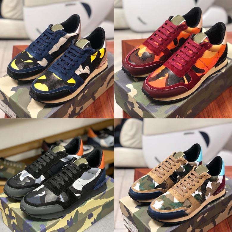 2020 Günlük Ayakkabılar Kamuflaj Süet Stud Stilist ayakkabı Erkekler Ve Kadınlar Runner Perçin Deri Moda Ayakkabı Sıcak Yeni Renk Düz Spor ayakkabılar