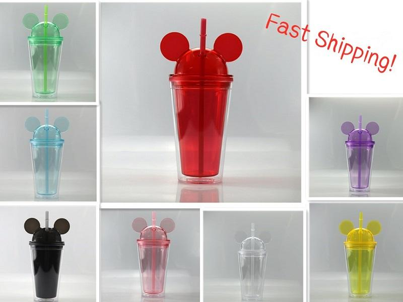 8 цветов 15 унций Ушные массажеры для мыши с купольной крышкой 450мл Акриловые Чашки Соломка Double Стеной Clear Travel Кружки Симпатичные бутылки Ребенок Kid Вода