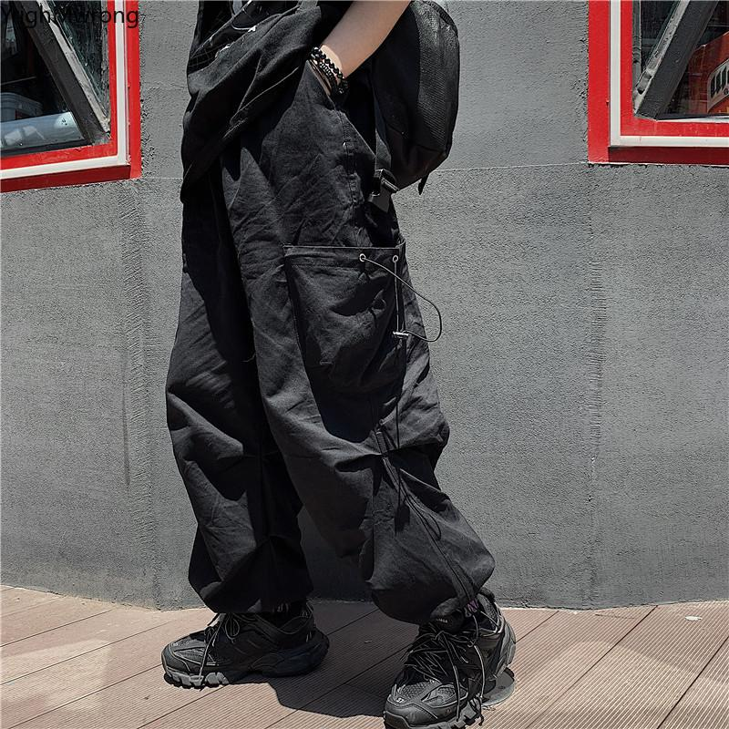 Punk lose Baggy Harem String hohe Taillen-Taschen-Cargo-Jogger Hose Korean Women Man Street Harajuku Gothic Hip Hop Hosen CX200804