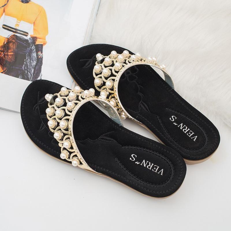 Fashion 2020 Summer Women Ladies Bohemia Bling Crystal Flat Flip-flop Beach Casual Shoes Women Shoes D2#2