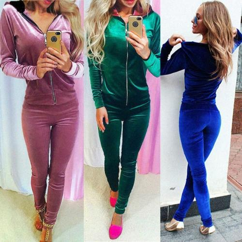 2017 Mujer del Alto Calidad 2pcs del chándal de ropa deportiva de HoodiesHooded cremallera hasta la camiseta + pantalones 2pcs de jogging Deporte Ropa eaZl #