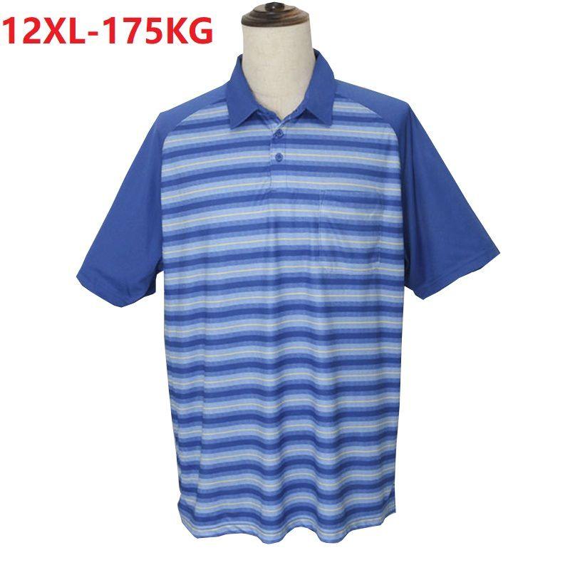 Yaz çizgili kısa kollu gömlek erkek büyük beden 10XL 12XL büyük satış gevşek gömlek yaka tişört maviye döner büyük seçmek başında