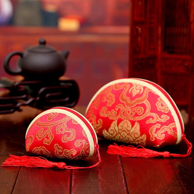 Forniture di nozze 10pcs multiuso Red Gold Line Retro caramella di cerimonia nuziale Borsa Borsa Cambio cinese Yuanbao damasco borsa Shell
