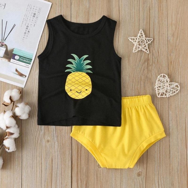 Kleinkind-Baby-Mädchen-Sommer-Karikatur-Ananas-Druck Weste Tops + Outfit mit kurzen Hosen Kindermode Ärmel T-Shirt Set Kleidung 1JhS #