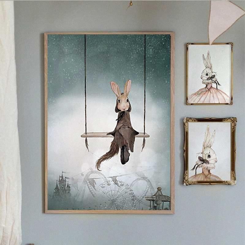 Sala Decoración Impresión del cartel nórdica lienzo de pintura niña Habitaciã³n cuadro de la pared de los ciervos del ala del ángulo Animal Resumen ffyN #