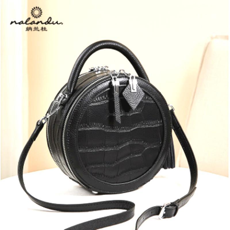H111 Nalandu Fashion handbag 2020 new fashion small round bag women's slung leather crocodile pattern black handbag trend