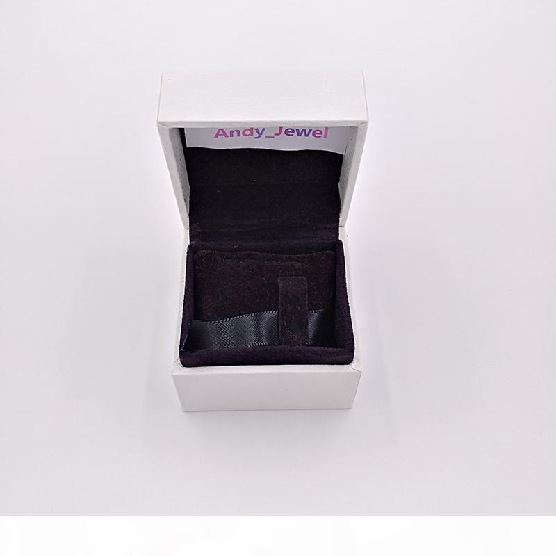 E Authentic White Paper Boxes Schwarz Kissen Innere Verpackung für Pandora Style Schmuck-Charme-Korn Murano