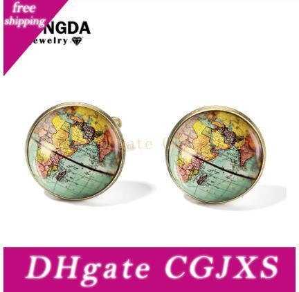 2019 Vintage Earth World Map Cufflinks Globe Planet Art Photo Crystal Glass Dome Shirt Cuff Links for Men Personalized Gemelos