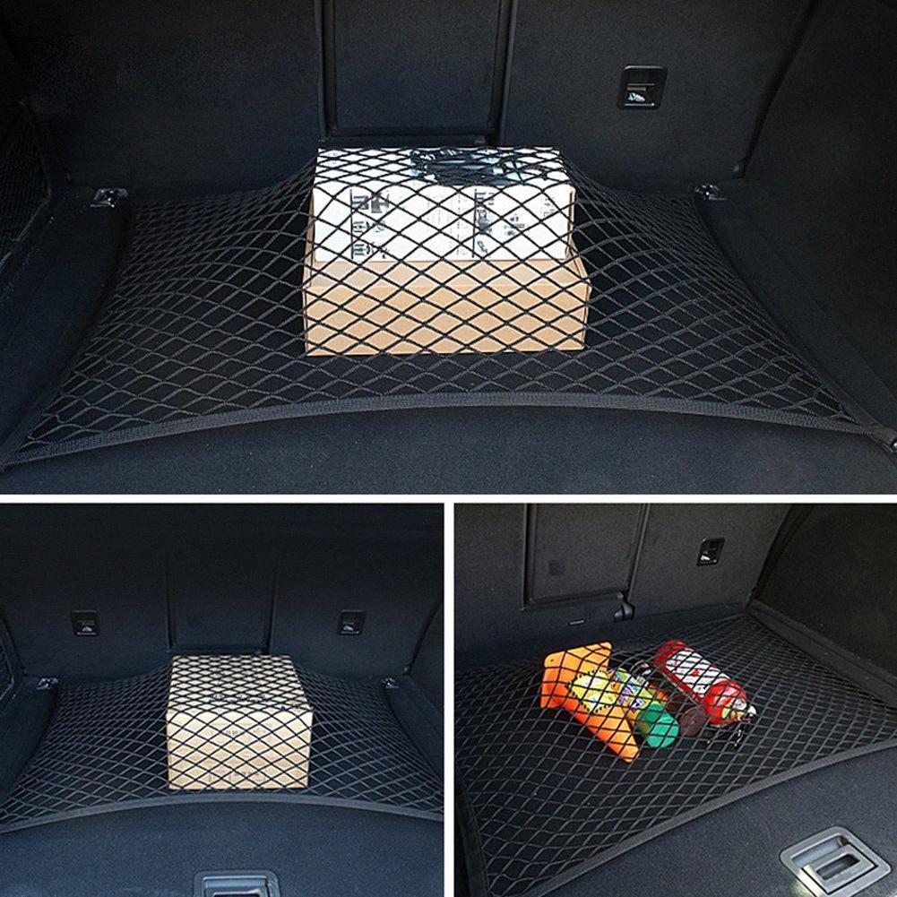 Tronco traseira do assento de carro Elastic Cordas de armazenamento de malha Net Universal Auto Carga Organizador Nylon Esticável elástica malha Net 4 Hooks PdOg #