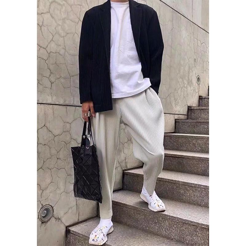 Miyake plissé Pantalon droit Hôtel Harem Pantalon Harem Trend Roase Nine Points Running Pack Hommes 2005