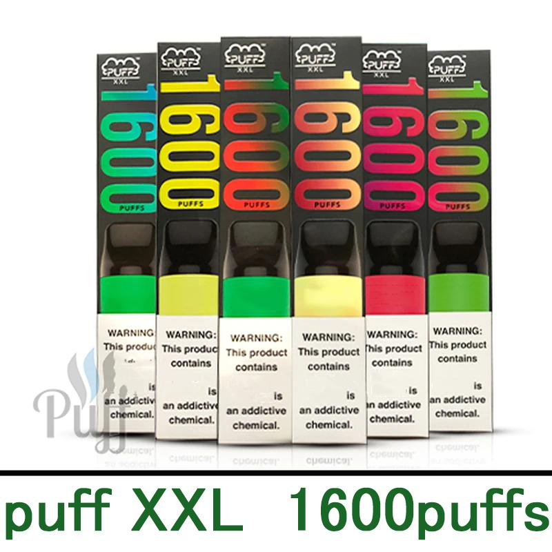 Puff XXL Dispositivo di vape a monouso Puff XXL 850mAh Batteria 1600 PUFF PUFF BUFF PUFFER KIT PRE-PRE-PRE-PIENT KIT E-cigs monouso