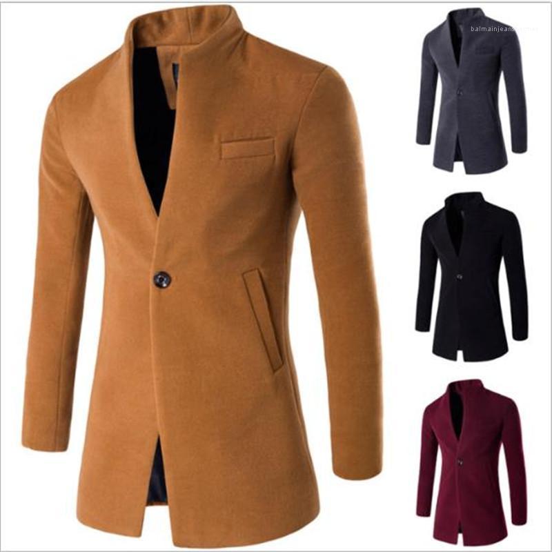 Yaka İnce Erkek ceketler Tek Düğme Uzun Kollu Casual İş Mens Tasarımcısı Coats Sonbahar Kış Ayakli Katı Renk Hırka