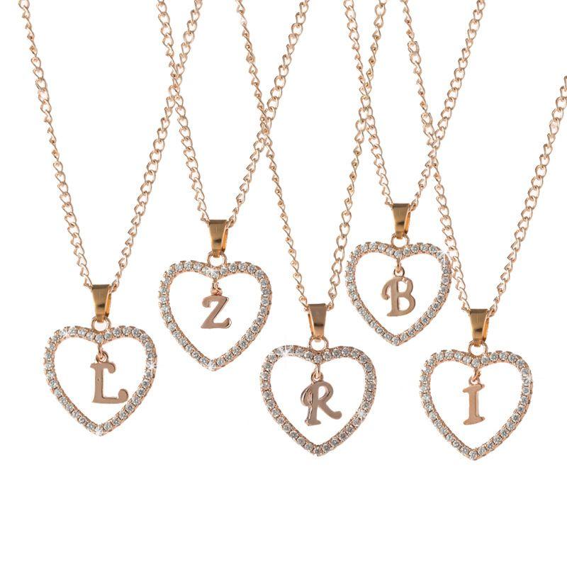 Mode-Herz-A-Z Englisch Alphabet Initial Halskette Personalisierte Rose Gold überzogen Legierung Halsketten-Anhänger für Frauen bestes Geschenk-freies Verschiffen