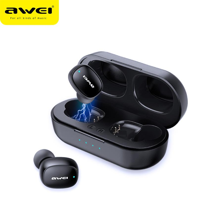 AWEI T13 TWS Wireless Bluetooth Earphone Headphones Sport Handsfree Headset Earbuds With Microphone HD Stereo For iPhone Samsung Xiaomi