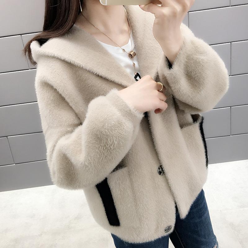 Automne 2020 nouveau tricot vison plus épais femme de manteau de chandail des femmes cardigan en cachemire printemps féminin et l'hiver usure extérieure