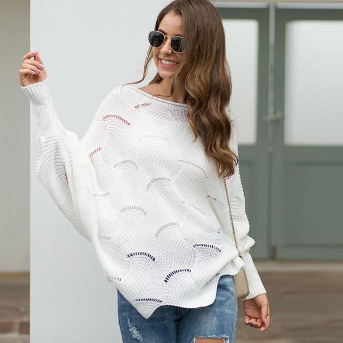 Вязаные свитера женщин сексуальный оборками фонариков рукавом O-образным вырезом выдалбливают Сыпучие пуловер Дамы Твердые Крупногабаритные Tops Y200720