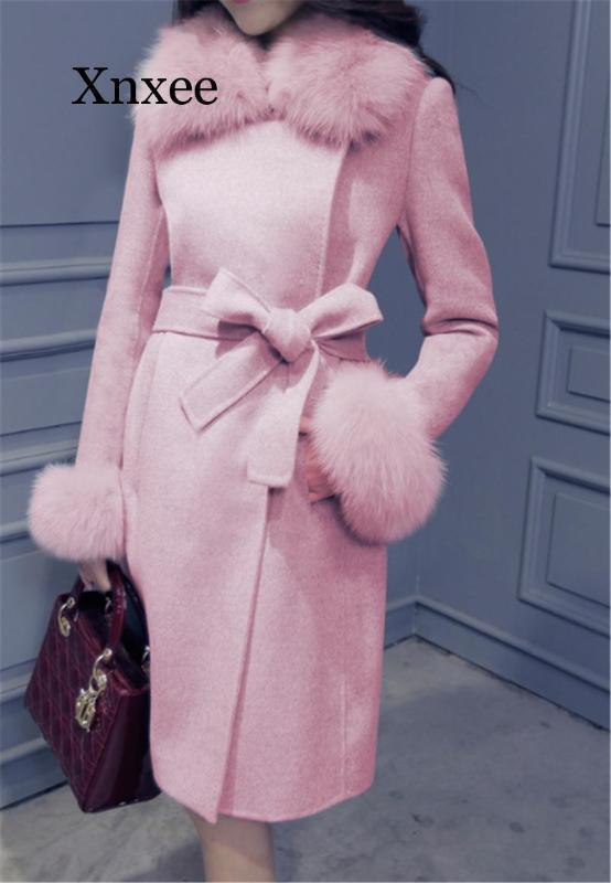 pembe zarif Kış Coat Ceket Kadınlar Şık Gri Kaşmir Örtü Kemer Artı boyutu Yün Ceket Kore Sıcak Uzun Kürk Yaka