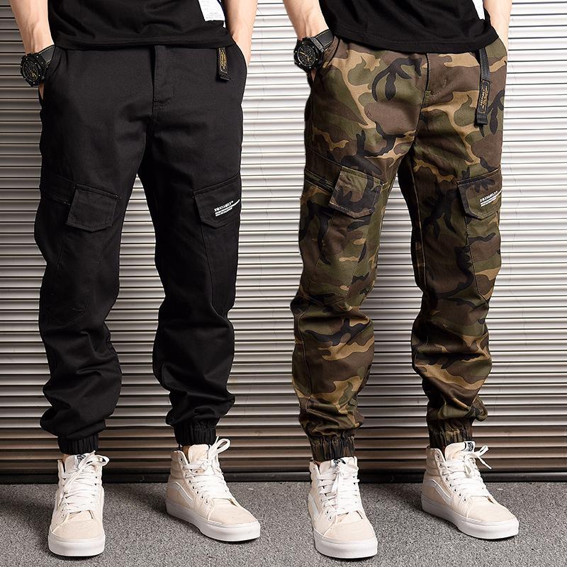 Fashion Streetwear Men Jeans Loose Fit Casual Camoflage Cargo Pants Harem Trousers Big Pocket Hip Hop Joggers Pants Men
