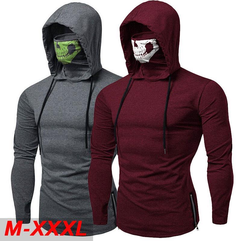2020 Mode manches longues T-shirt avec le crâne masque gothique Casual Sport capuche T-shirt Rue Cool Voyage hommes Top Tee