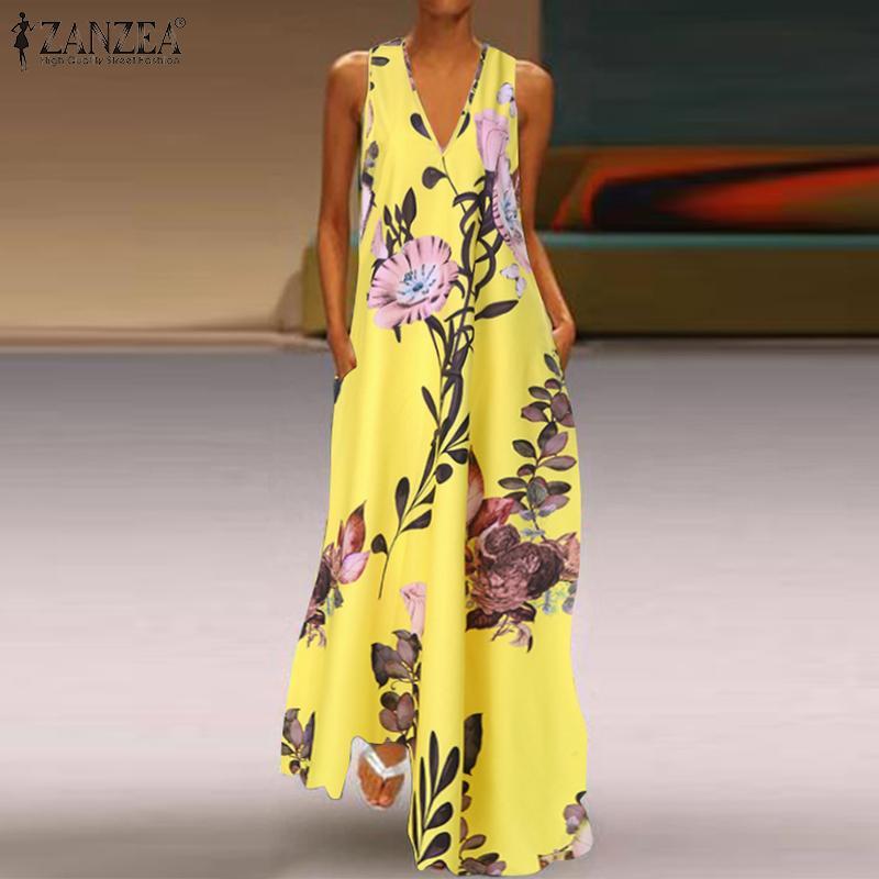 caldo 2020 di estate di modo Vestito estivo donne maxi Abiti stampato floreale della Boemia del vestito da donna tasche Casual lunga tunica Robe