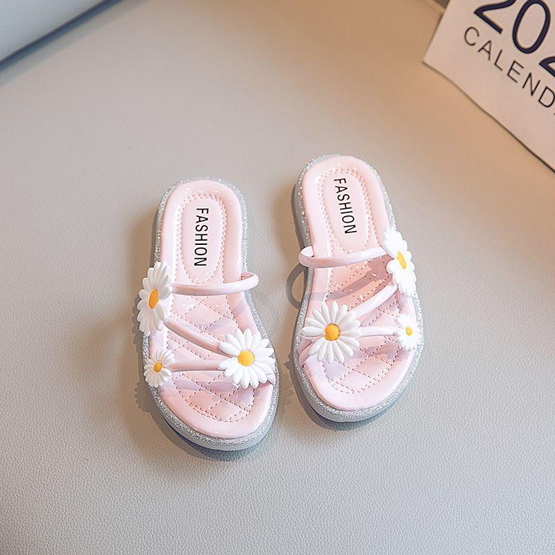 Тапочка повседневная ромашка цветы мягкая средняя большая детская принцесса пляжные сандалии летние девушки на улице тапочки для детей цветочные туфли