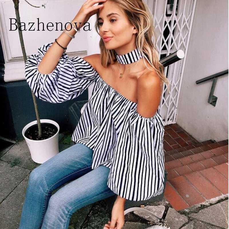 Bazhenova Kadınlar Yaz Çizgili Bluz Kızlar Tek satırlı Yaka Fener Kol Çizgili Gömlek Off-omuz Kadın R670 için Gömlek