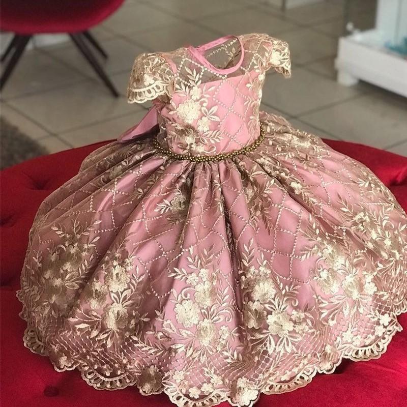 أنيقة زهرة فتاة طويل مساء اللباس طفلة التعميد ثوب الأطفال الأميرة زي ل مراهقين حفل زفاف حزب اللباس