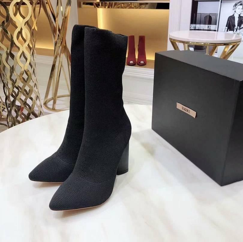 Hot Sale- Fashion Designer High Heeled Boots Genuine Leather Canvas 02Cross Straps Pointed Toes Ladies Fashion Boots korean style n0720
