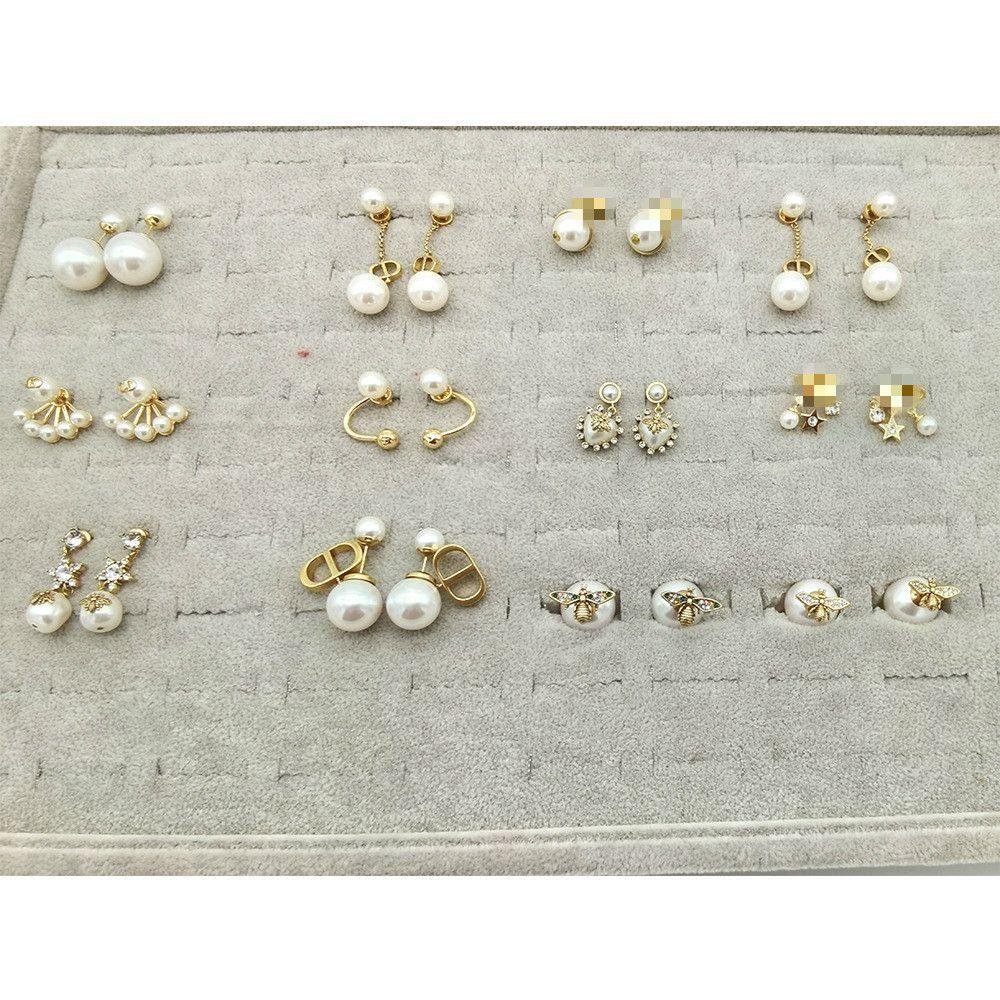 2020CD Koleksiyonu Lüks Takılar Kadınlar Tasarımcı Küpeler 925 Gümüş İğne Hipoalerjenik Harf D Logo ile