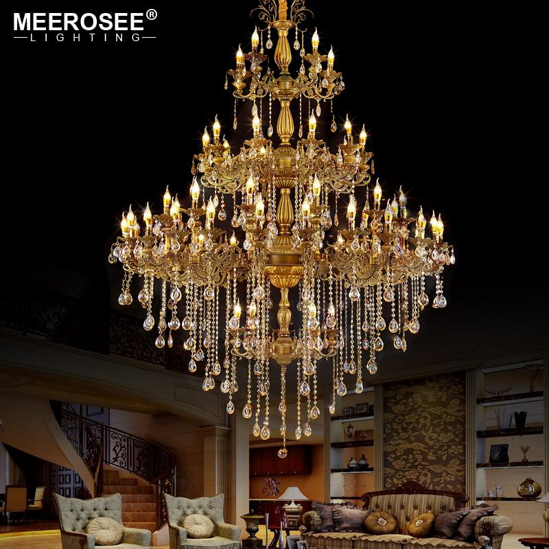 Luxurious Traditional Huge Crystals Chandelier Light Fixture Vintage Lustres Hanging Lamp for Villa Hotel Project Candle Luminaires Lighting