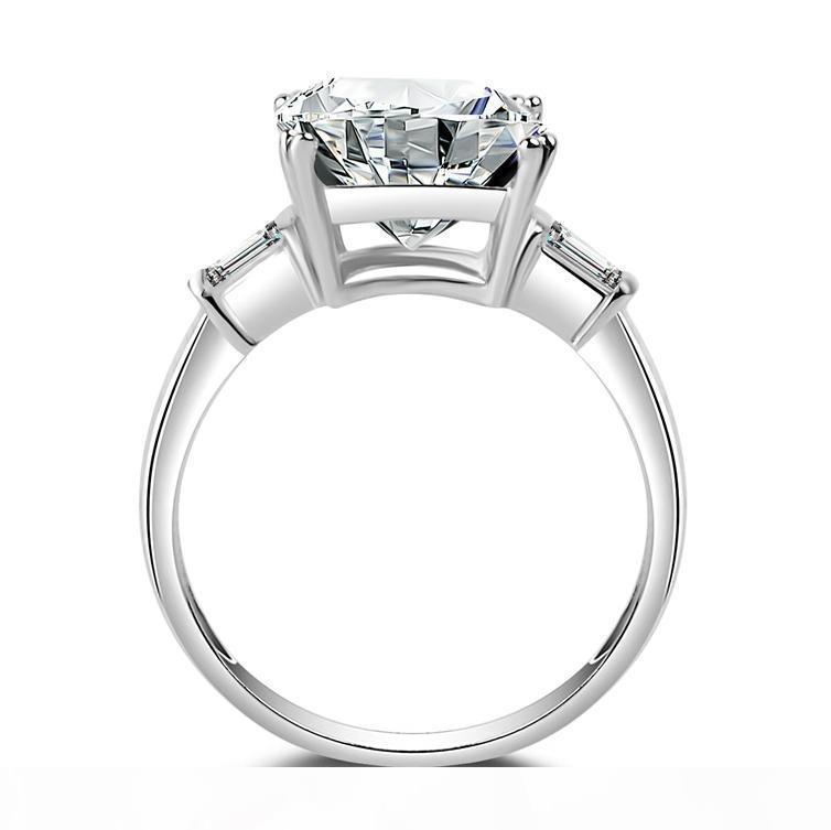 A Frauen '; S Square 5 Ct Drei Stein Big Schmuck Ring Reine 100% 925 Sterling Silve Weiß Topaz 5a Zirkonia Cz Verlobung, Hochzeit, Ba