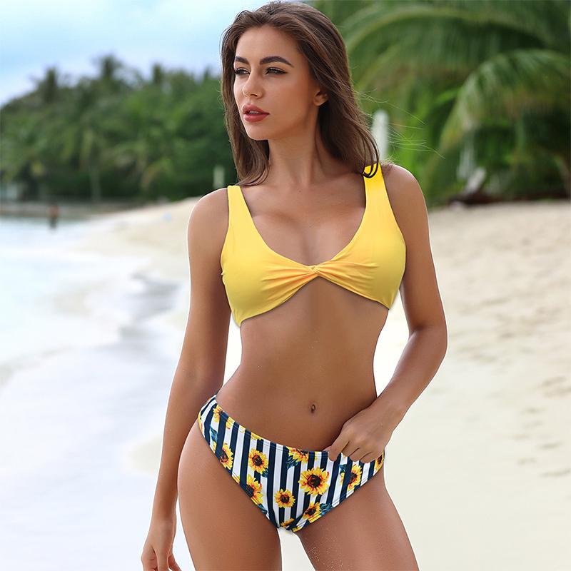 2020 Nuovo stretto sexy bikini Split solido Beach colori Pool Party costume da bagno