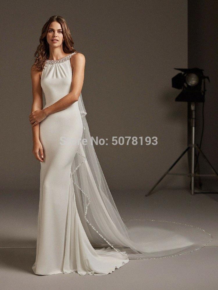 2019 nouveau en arrière sans manches open simple, sirène pleatbeadingbuttons robe de soirée longue spandex gratuit Envoi Cl5m #