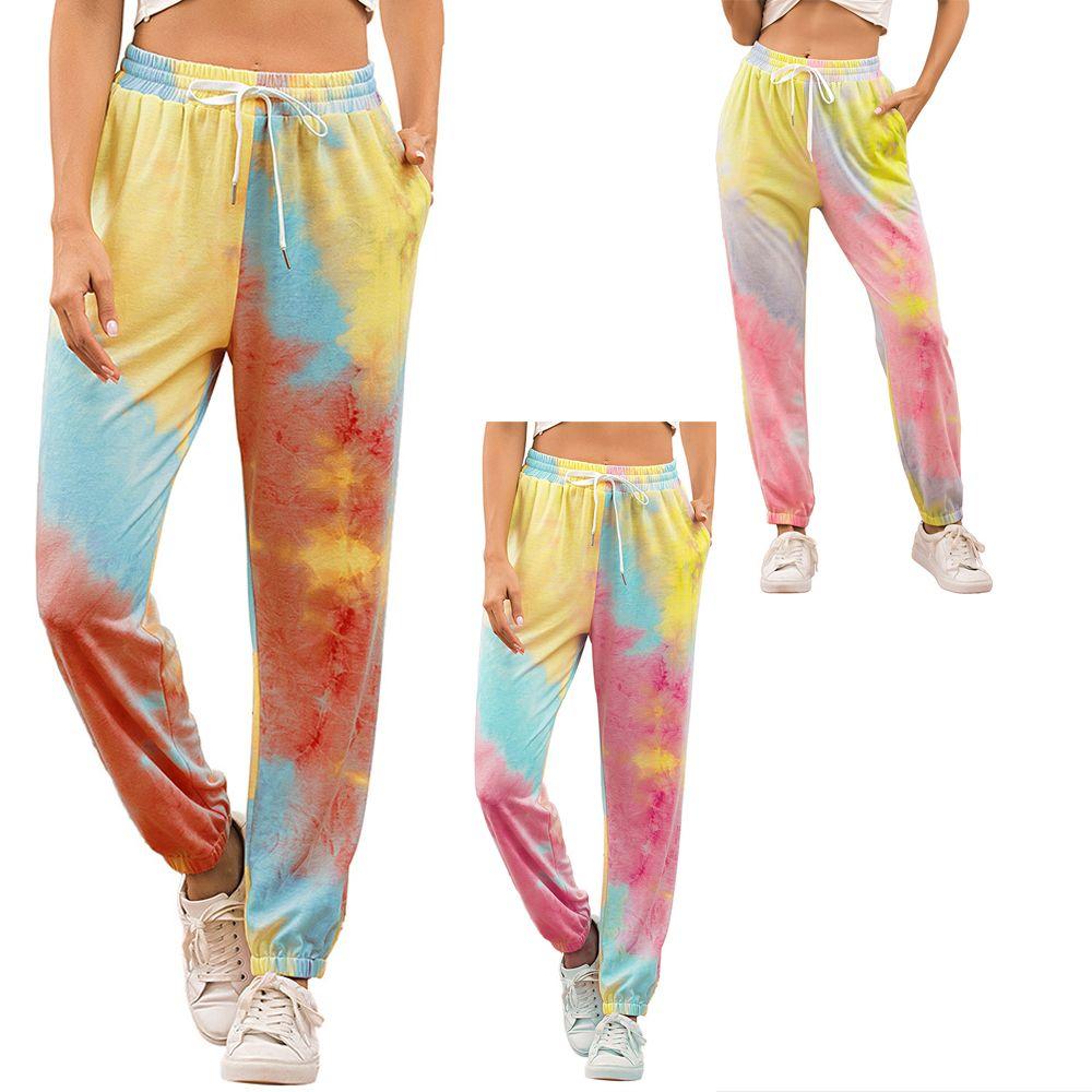 Women's Tie Dye Sport Leggings With Pockets Jogging Long Style Drawstring Elastic Pants For Girls