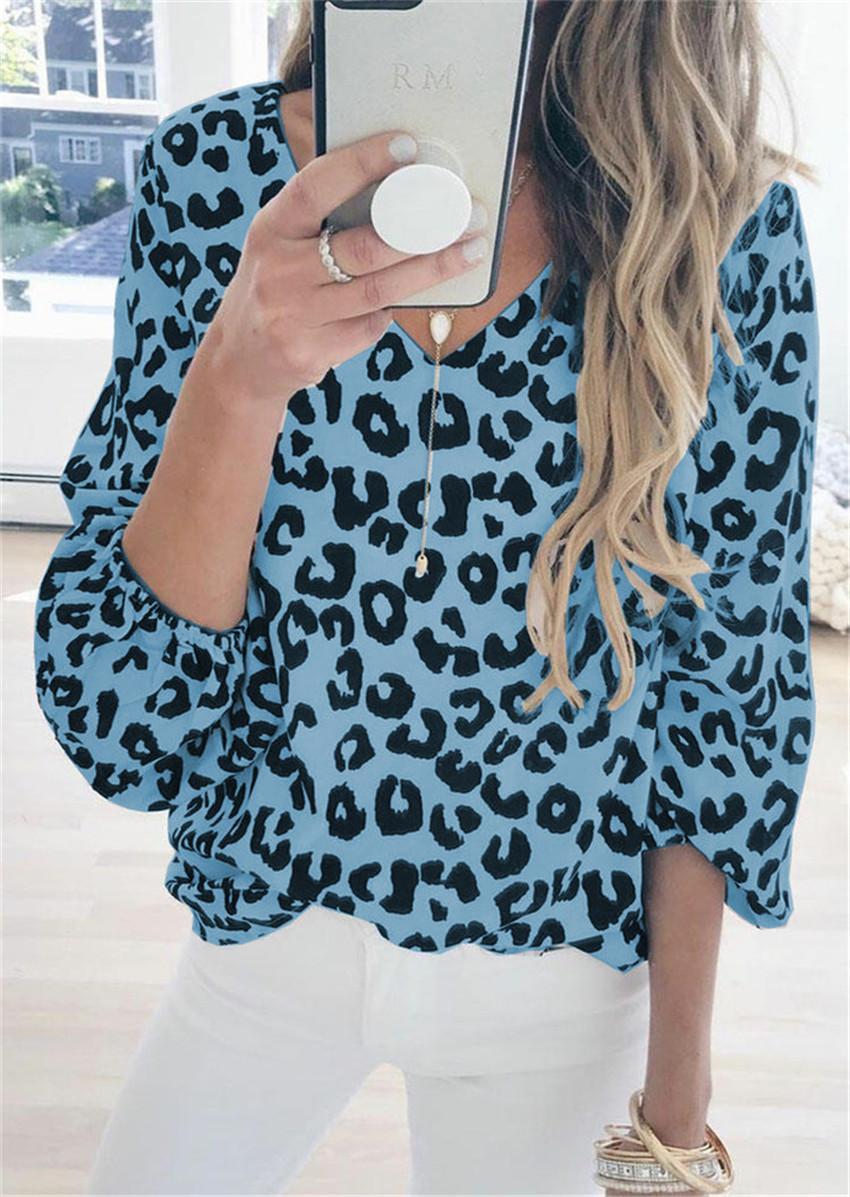 El estilista de las mujeres camiseta ocasional de la linterna de la manga del leopardo de alta calidad superior de impresión camiseta para Mujer