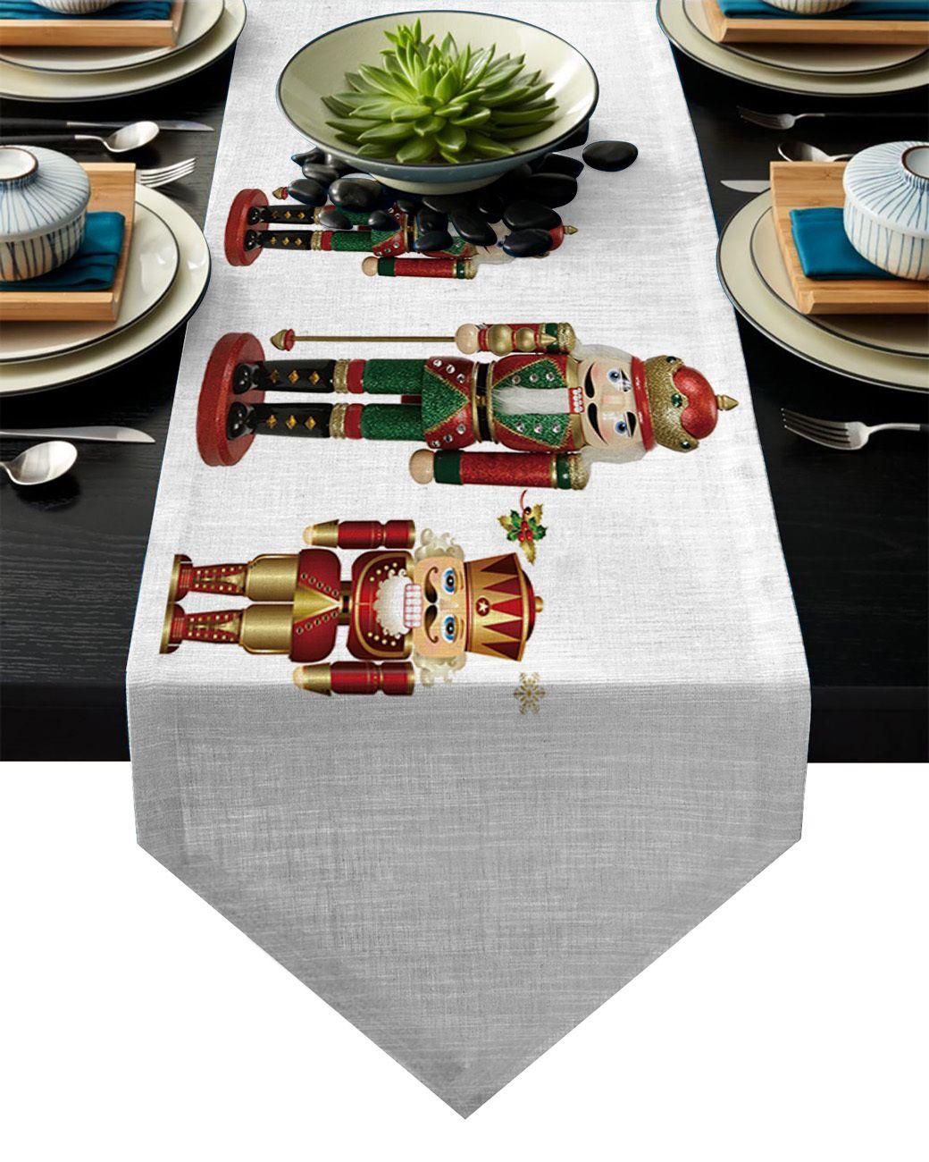 Schiaccianoci Soldato pospongono i corridori decorazioni per la tavola di Natale per casa festa di nozze Camino De Mesa Cucina Accessori Y200421