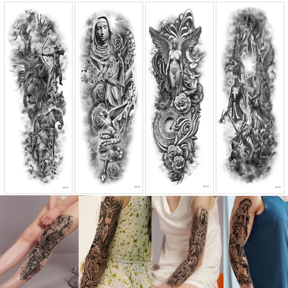 48x17cm Black Large Ancient Greek Mythology Mix Design Temporary Tattoo Leg Full Arm Sleeve for Woman Man Cool Body Tattoo Sticker Excellent