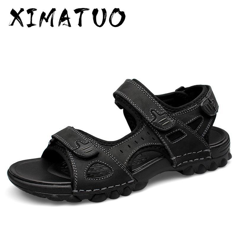 Hommes Sandales en cuir d'été Mode Sandales Chaussures Hommes Casual Chaussures plates Black Beach chaussons homme d homme sandales ete
