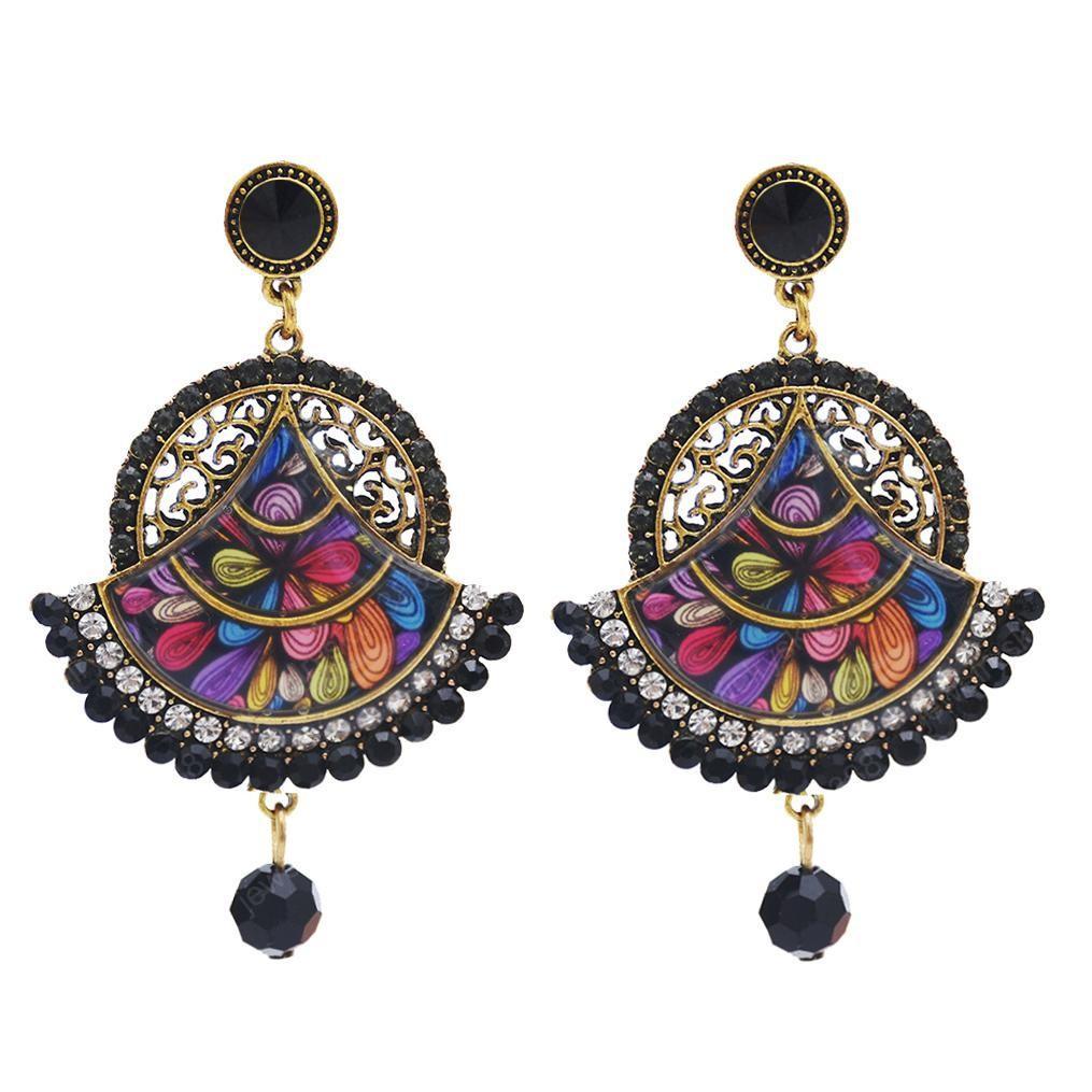 Indian Fan-shaped Mandala Flower Gold with Multicolor Crystal Beads Chain Tassel Stud Earrings for Women