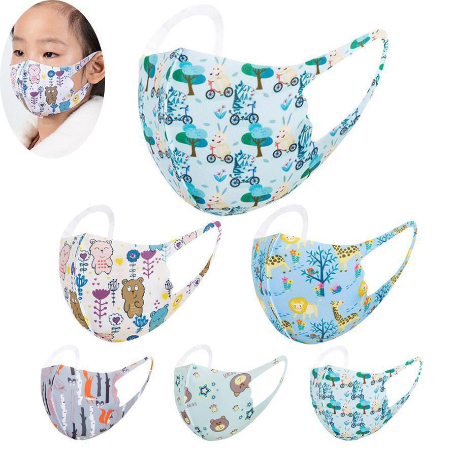 En stock enfants visage masque masque dessin animé animal imprimé masque imprimé lavable pour enfants printemps respirant de printemps estival masques bOOM2015