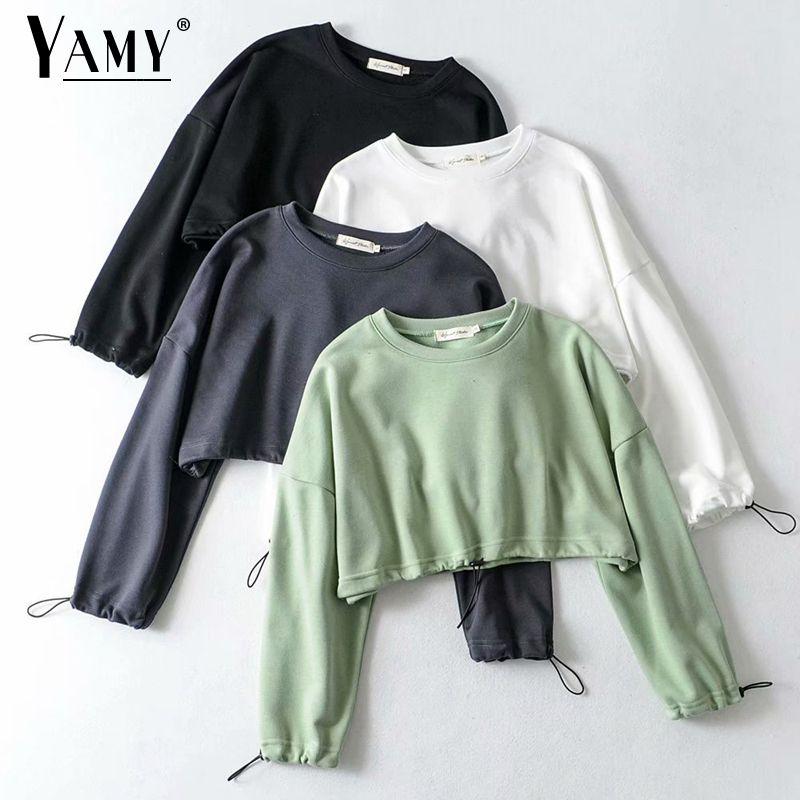 Fall crop top hoodies women cotton pullover cute hoodie cropped hoodies females sweatshirt women korean hoodie vintage Autumn T200801