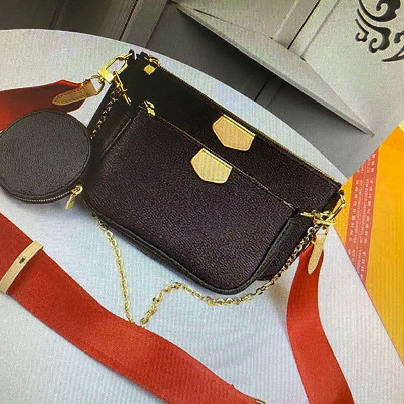 M44813 MULTI POCHETTE ACCESSORIES Handbags Purses Women Crossbody Bag 3 Piece Sets Mono Canvas Real Leather Chain Shoulder Bags PCS